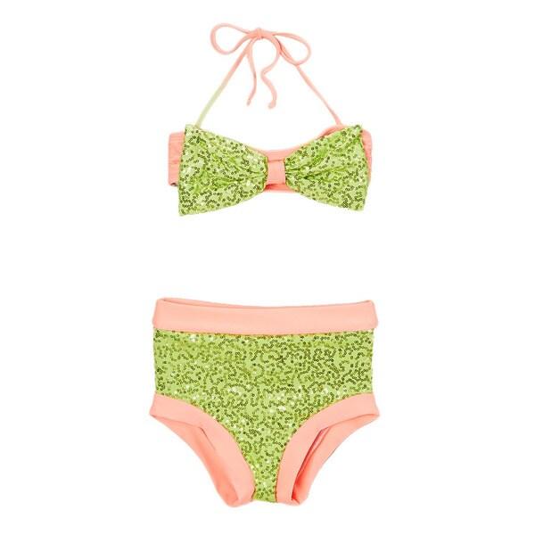 Dippin Daisy's Lime & Coral Sequin Hi-Waist Bow Bandeau Bikini