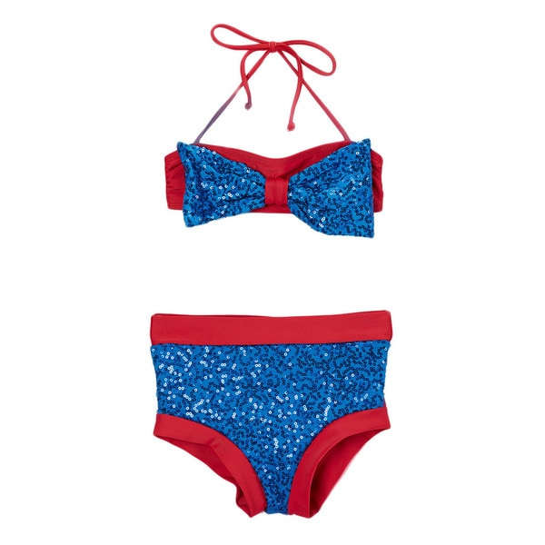 Dippin Daisy's Blue & Red Sequin Hi-Waist Bow Bandeau Bikini