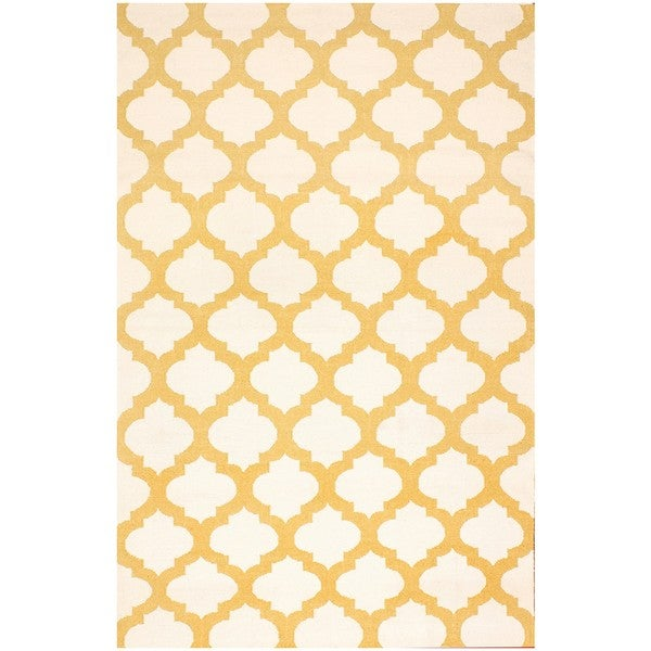 ABC Accents Moroccan Ivory and Tan Wool Rug (5' x 8')