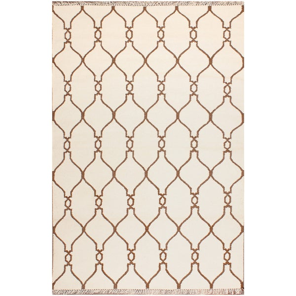 ABC Accents Moroccan Tan and Ivory Geometric Wool Rug (5' x 8')