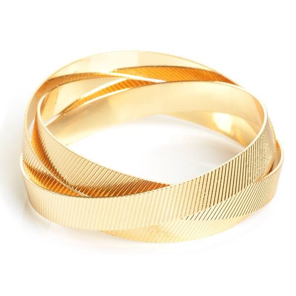 Yellow Gold Overlay Interlocked Textured Bangle (Set of 3)