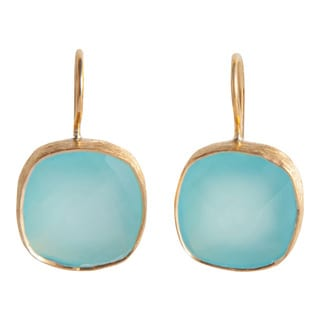Handcrafted Gold-plated Sterling Silver Aqua Chalcedony Earrings (India)