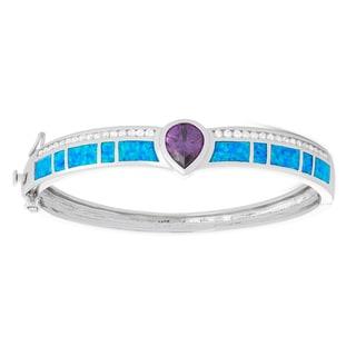 La Preciosa Sterling Silver Blue Opal & Amethyst Pear CZ Bangle