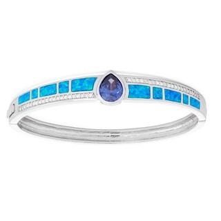 La Preciosa Sterling Silver Blue Opal & Tanzanite Pear CZ Bangle