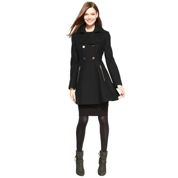 Laundry By Shelli Segal Black Wool Skirted Coat