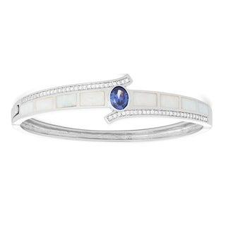 La Preciosa Sterling Silver White Opal & Tanzanite Oval CZ Bangle