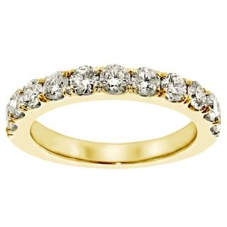 Yellow Gold 1ct TDW Round Diamond Split Prong Wedding Band