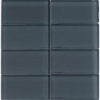 Modwalls Lush Storm Gray Glass Subway Tile