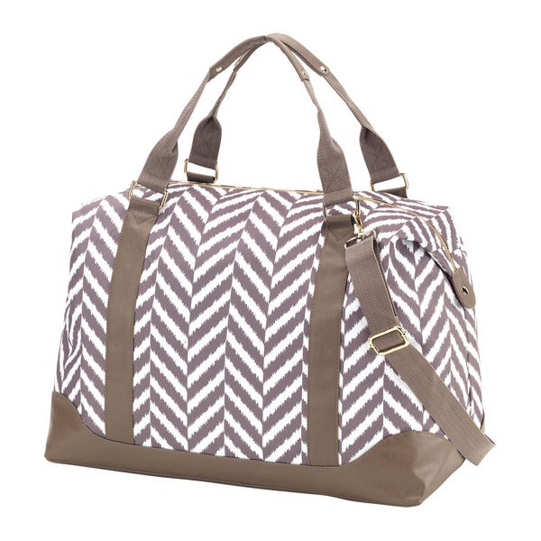Taupe Herringbone 20-inch Carry On Weekender Duffel Bag