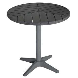 Cortesi Home Jaxon Round Aluminum Outdoor Bistro Table in Poly Wood, Silver / Slate Grey