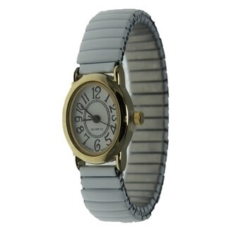Women's White Stretch Band Watch with Second Hand Easy-read Oval Dial