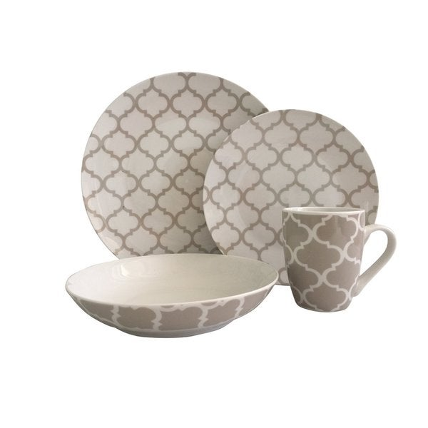 Melange 32 Piece Grey Harmony Coupe Porcelain Place Setting Serving for 8 Dinnerware, White