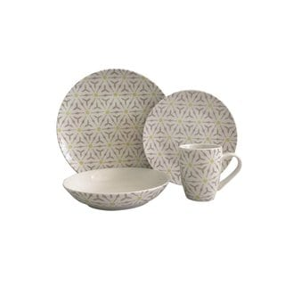 Melange 32 Piece Romance Coupe Porcelain Place Setting Serving for 8 Dinnerware, White