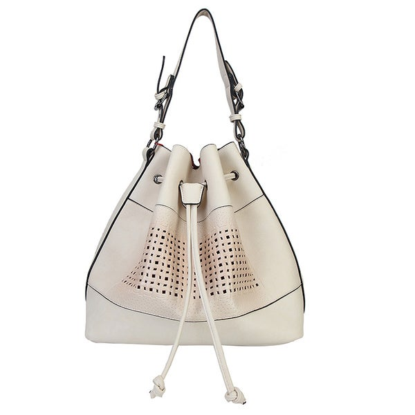 Rimen & Co. PU Leather Drawstring Mesh Handbag