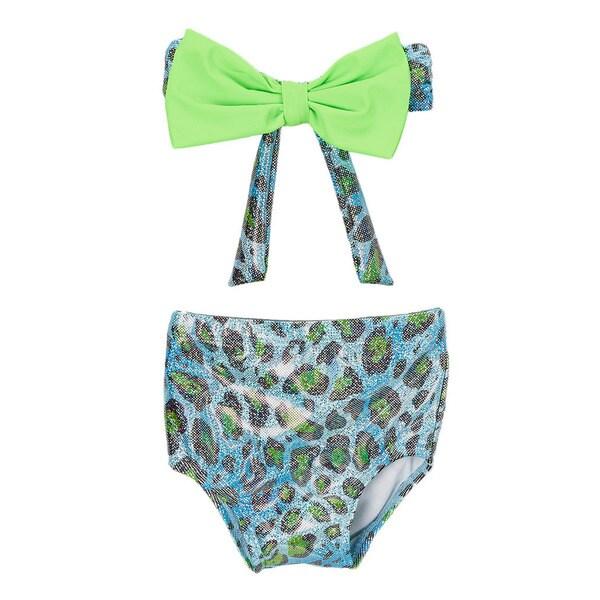 Dippin' Daisy's Girl's Leopard Blue High Waist Bow Bandeau Bikini