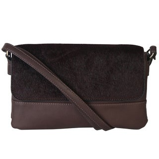 Rimen & Co. Faux Fur Flap Baguette Crossbody Handbag
