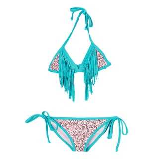 Dippin' Daisy's Girl's Light Pink Sequin Triangle Bikini with Turquoise Fringe
