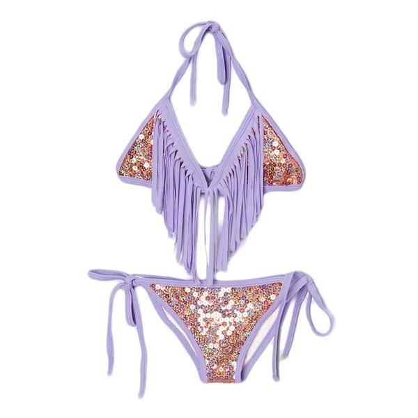 Dippin Daisy's Girl's Coral Sequin Triangle Bikini with Lavender Fringe