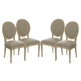 Set of 4 Vintage French Round Upholstered Side Dining Chairs