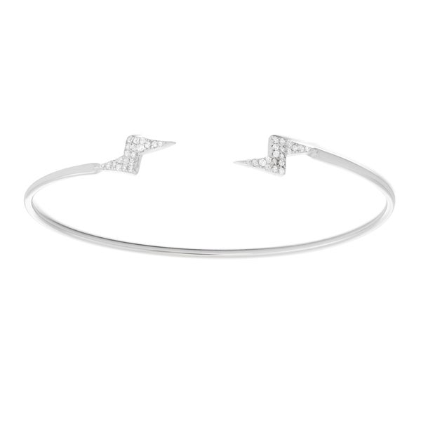 La Preciosa Sterling Silver CZ Lightning Bolts Open Bangle