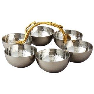 Elegance Golden Vine Hammered Stainless Steel Bowl Server (Set of 6)