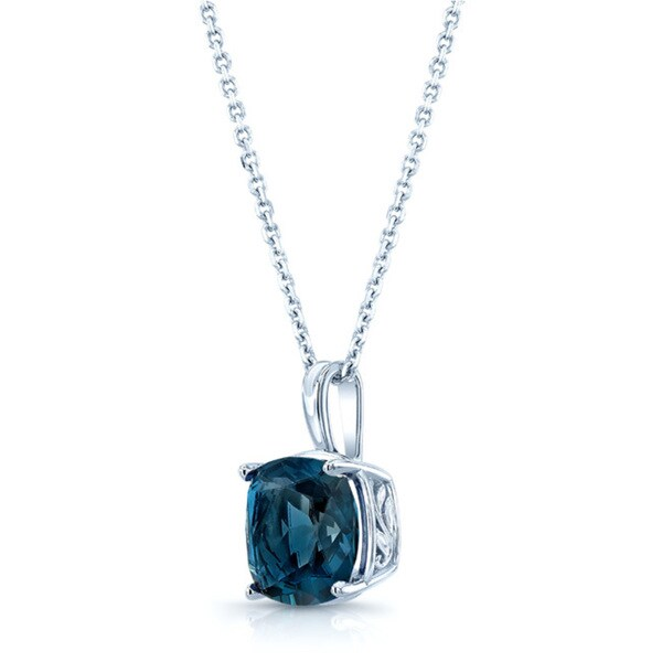 14k White Gold Cushion-cut London Blue Topaz Necklace