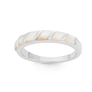 La Preciosa Sterling Silver Mother of Pearl Striped Band Ring