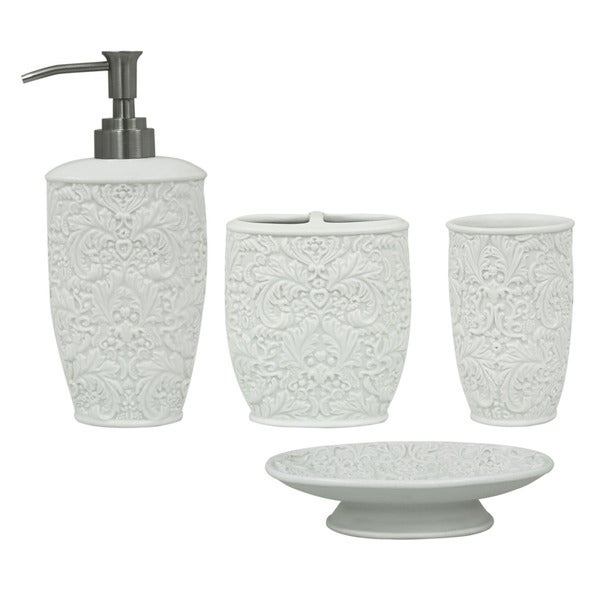 Jessica simpson lovely 4 piece bath accessory set for Bathroom accessories sets on sale