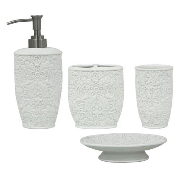 Jessica simpson lovely 4 piece bath accessory set for Bath accessories sale