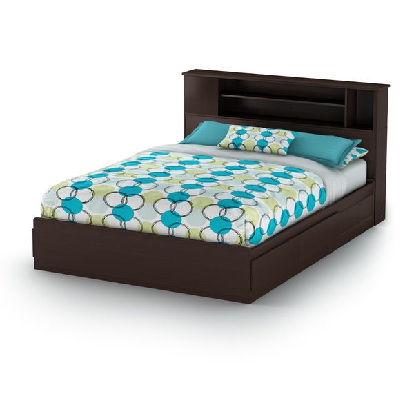 South Shore Step One Queen Mates Bed with Drawers and Bookcase Headboard Set