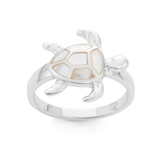 La Preciosa Sterling Silver Mother of Pearl Turtle Ring
