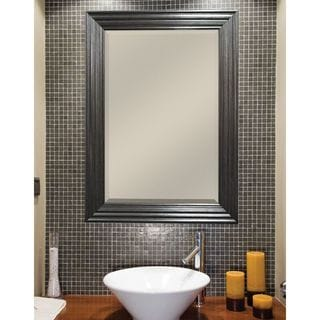Pewter Ridged Finish Beveled Mirror