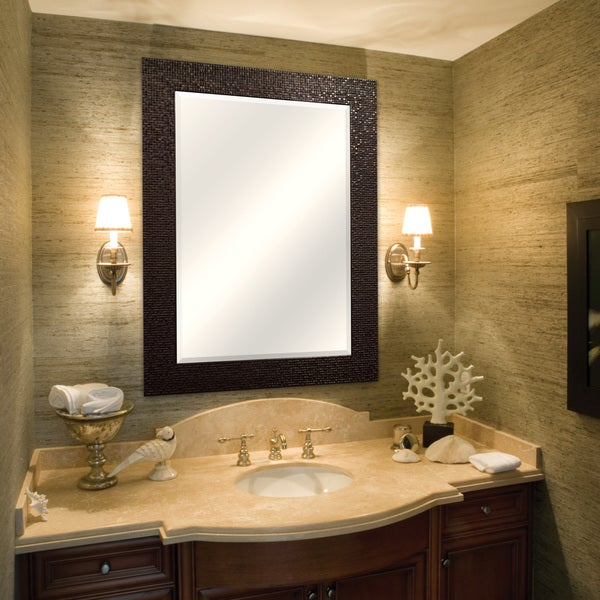 Bronze Grid Finish Beveled Mirror