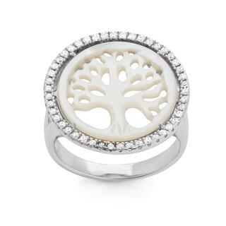 La Preciosa Sterling Silver Mother of Pearl & CZ Tree of Life Circle Ring