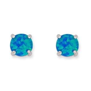La Preciosa Sterling Silver Blue Opal 6mm Circle Stud Earrings