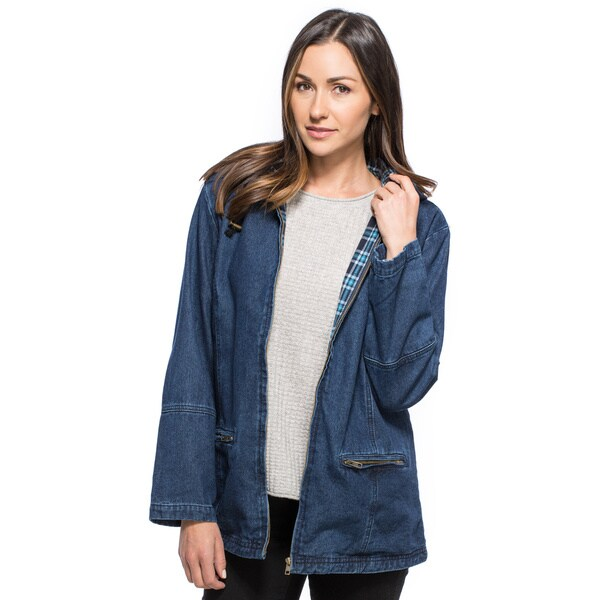 Women's Plaid Lining Denim Jacket With Detachable Hood