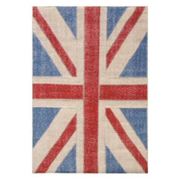 Vintage Union Jack Hand-Knotted Patchwork Rug