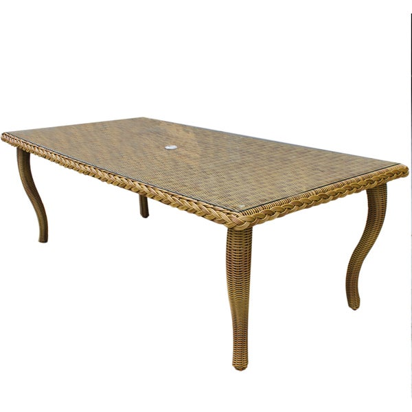 Everglades Resin Wicker Dining Table - Honey