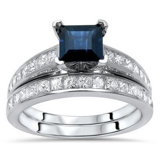 Noori 14k White Gold 1ct TDW Diamond Princess-cut Sapphire Ring Set (G-H, SI1-SI2)