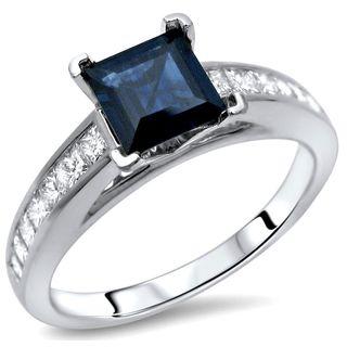 Noori 14k White Gold 1/2ct TDW Diamond Princess-cut Sapphire Ring (G-H, SI1-SI2)