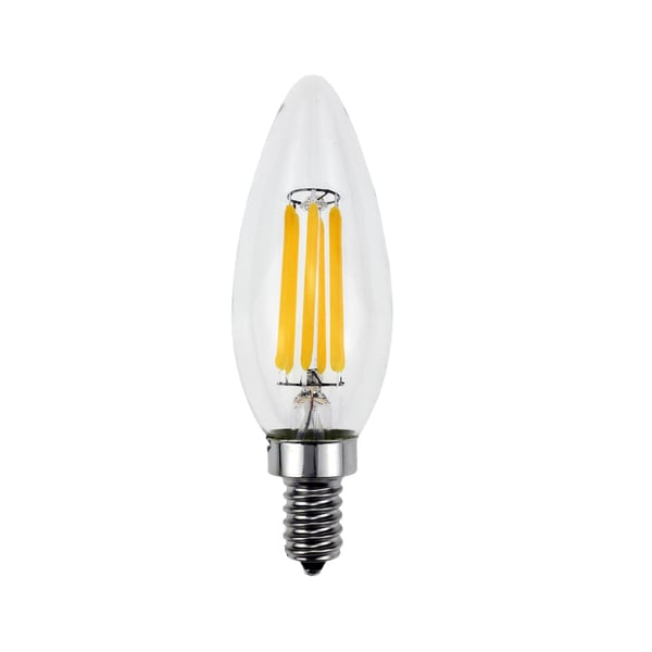 Goodlite 5-Watt LED Filament Candelabra Bulb Dimmable Torpedo Tip - Equivalent 60W Incandescent Bulb UL 600 Lumens - 10 Pack
