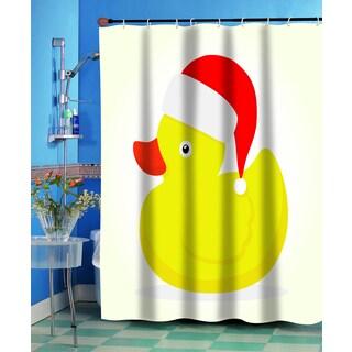 Christmas Ducky Holiday Fabric Shower Curtain