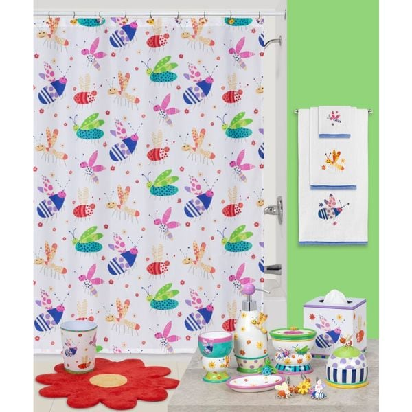 39 cute as a bug 39 shower curtain and hook kids 39 bath for Kids shower curtain sets