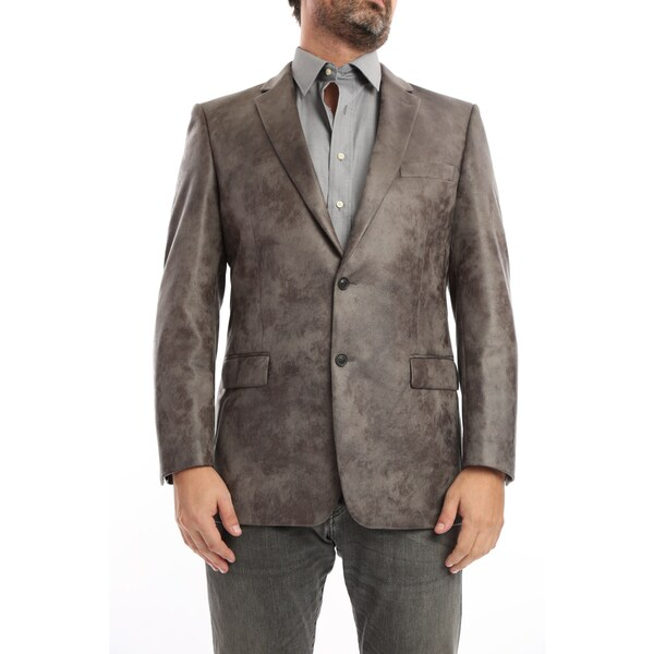 Verno Mestre Men's Grey Faux Suede Classic Fit Italian-Styled Blazer