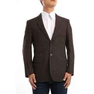 Verno Marra Men's Dark Brown and Black Herringbone Classic Fit Wool Blazer