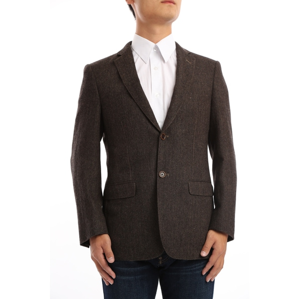 Verno Marra Men's Dark Brown and Black Herringbone Classic Fit Wool Blazer