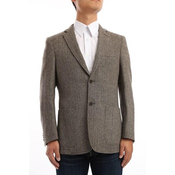 Verno Miano Men's Brown and Tan Herringbone Classic Fit Wool Blazer