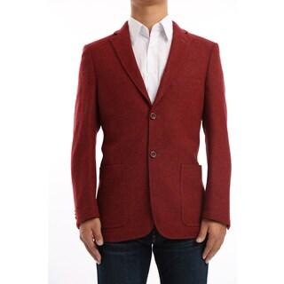 Verno Marsili Men's Brick Red Contrast Stitch Classic Fit Wool Blazer