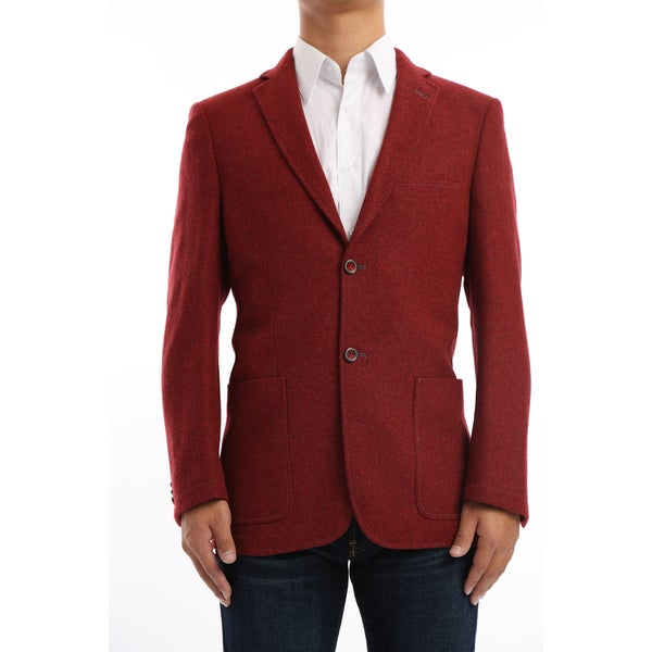 Verno Marsili Men's Brick Red Contrast Stitch Classic Fit Wool Blazer