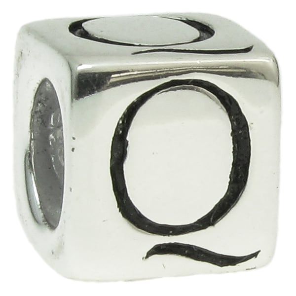 Queenberry Sterling Silver Dice Cube Letter 'Q' European Bead Charm